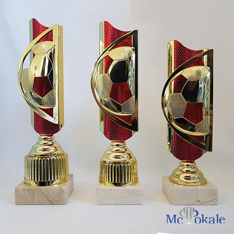 Fussball Pokal Rot Gold