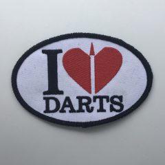 """Aufnäher/Patch """"I LOVE DARTS"""" auf Stoff"""